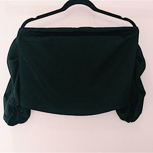 URBAN OUTFITTERS BLACK PUFF SLEEVE TOP